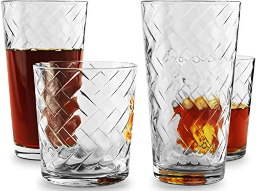 Circleware Chevron Huge 12-Piece Glassware Set of Highball Tumbler Drinking Glasses and Whiskey Cups for Water, Beer…