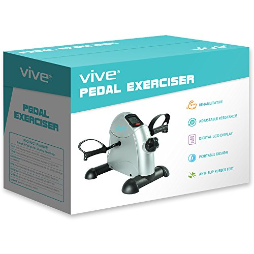 Pedal Exerciser by Vive - Portable Medical Exercise Peddler - Low Impact, Small Exercise Bike for Under Your Office Desk - Designed for Either Hands or Feet - 1 Year Guarantee