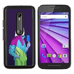 LECELL--Funda protectora / Cubierta / Piel For Motorola MOTO G3 3rd Gen -- Helado del zombi de neón retra blanca Walker --