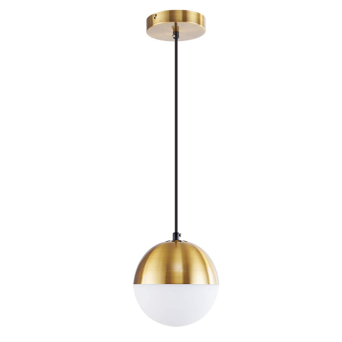 ShengQing Modern Glass Globe Pendant Light with 6'' Mini Milk White Glass Shape 1-Light Brushed Brass Kitchen Pendant Lighting Fixture for Kitchen Island Loft Counter Dining Room Bar Restaurants
