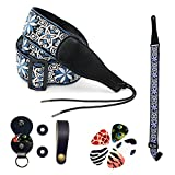 ShoppeWatch Guitar Strap Accessories Kit Vintage Jacquard Weave Hootenanny Style For Electric Acoustic Base Free Strap Buttons Locks and 5 Designer Guitar Picks with Pick Holder Keychain Blue GS3