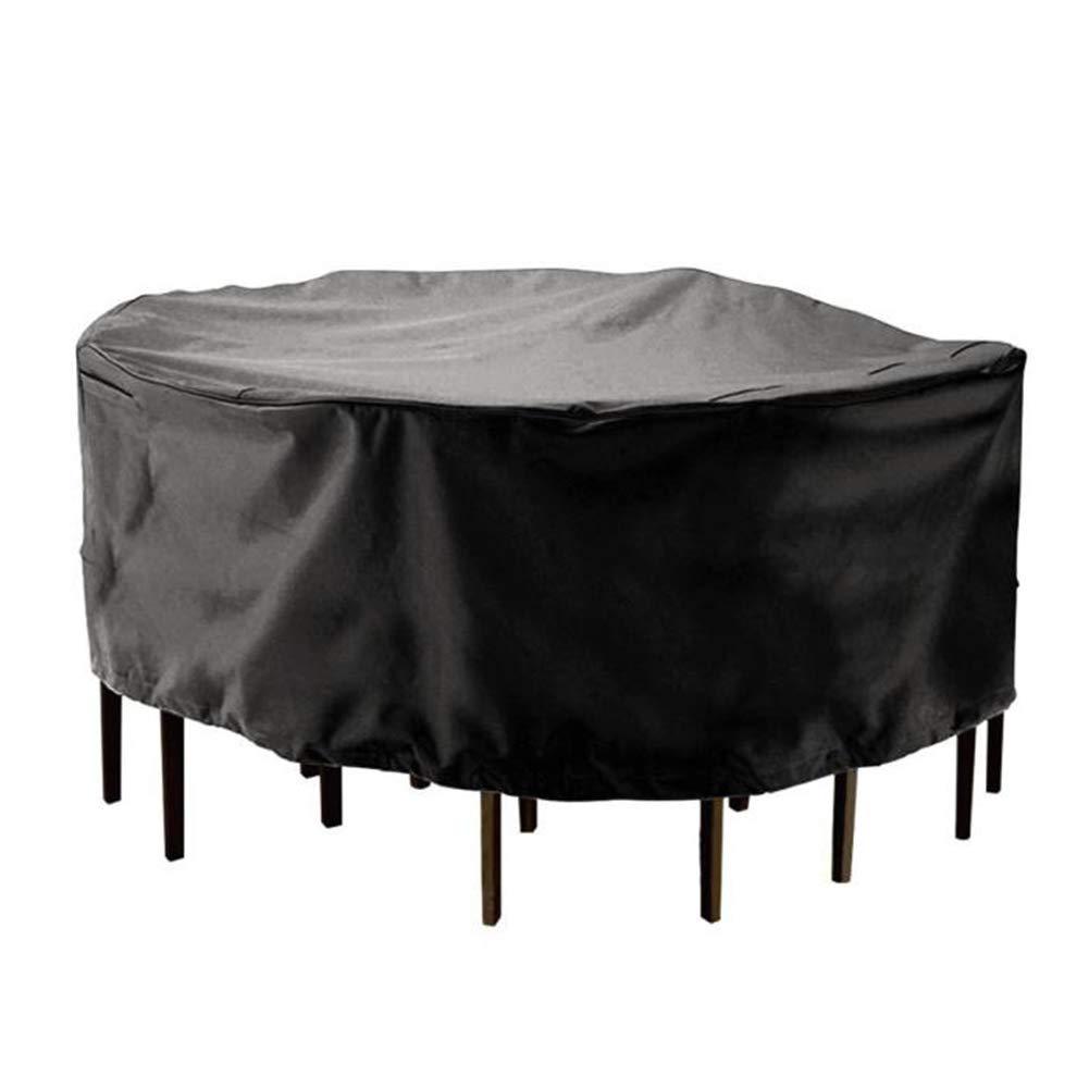 IDWOI ガーデンラタン家具カバー 円形 アウトドア 防水 日焼け止め 抵抗力がある、 25サイズ、 カスタマイズ可能 (Color : Black, Size : 300x110cm) B07SF5MRHM Black 300x110cm
