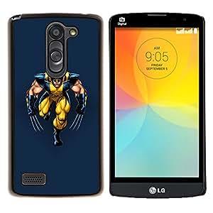 YiPhone /// Prima de resorte delgada de la cubierta del caso de Shell Armor - Superhero Amarillo Con Garras - LG L Prime D337 / L Bello D337