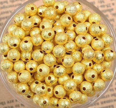Plated Stardust Gold Spacer - FidgetKute Lots Silver & Gold Round Stardust Copper Ball Spacer Beads 4MM 6MM 8MM 10MM 12MM Gold Plated 12MM (10pcs Beads)