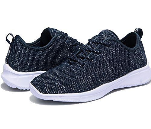 Gysan Womens Lightweight Athletic Slip-on Sneakers Casual Breathable Mesh Go Walking Running Shoes Blue NOPtqo6
