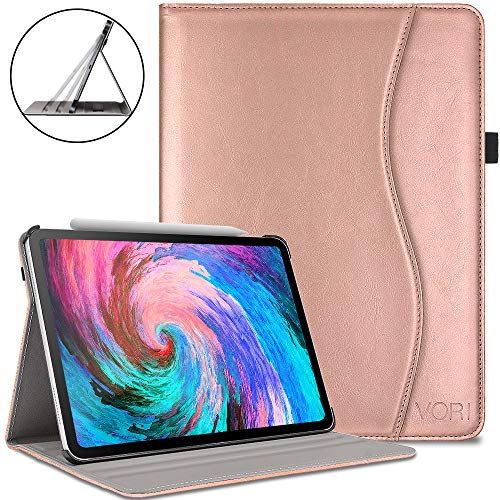 Shell Leather Synthetic (VORI Case for iPad Pro 11 inch 2018,Premium Leather Smart Shell with Hand Strap, Multi Angle Viewing Folio Cover with Pocket and Auto Wake/Sleep Support 2nd Gen Pencil Charging for iPad 11
