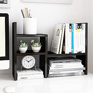 Jerry & Maggie - Desktop Organizer Office Storage Rack Adjustable Wood Display Shelf | Birthday Gifts - Toy - Home Decor | - Free Style Rotation Display - True Natural Stand Shelf