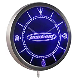 Time2LightUp Bud Light Beer Neon Sign LED Wall Clock 10 Inches Round LED Neon Wall Clock Blue