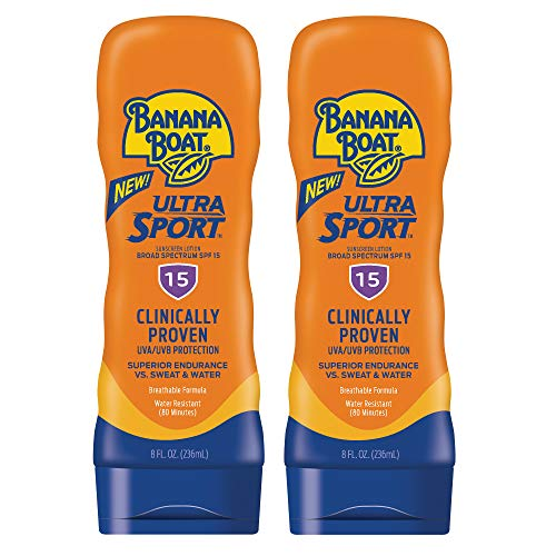 Banana Boat Ultra Sport Sunscreen Lotion, New Formula, SPF 15, 8 Ounces - Twin Pack