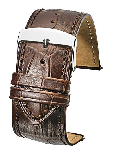 - Genuine Alligator Grain Stitched Leather Watch Band (fits Wrist Sizes 6-7 1/2 inch) - Brown - 28mm