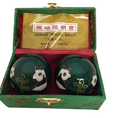 baoding balls chinese health massage exercise stress balls - green panda #2 by thy arts