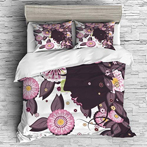 3 Pieces (1 Duvet Cover 2 Pillow Shams)/All Seasons/Home Comforter Bedding Sets Duvet Cover Sets for Adult Kids/King/Nature,Portrait of Flower Girl with Floral Hair with Daisy Leaf Mother of Nature Co