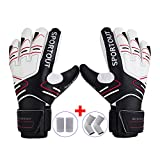 Youth&Adult Goalie Goalkeeper Gloves,Strong Grip for The Toughest Saves, With Finger Spines to Give Splendid Protection to Prevent Injuries,Free 1 Pair of Wristband&Elbow Pads,3 Colors (Black, 9)