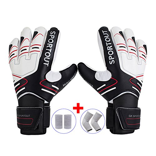 Youth&Adult Goalie Goalkeeper Gloves,Strong Grip for The Toughest Saves, With Finger Spines to Give Splendid Protection to Prevent Injuries,Free 1 Pair of Wristband&Elbow Pads,3 Colors (Black, 8)