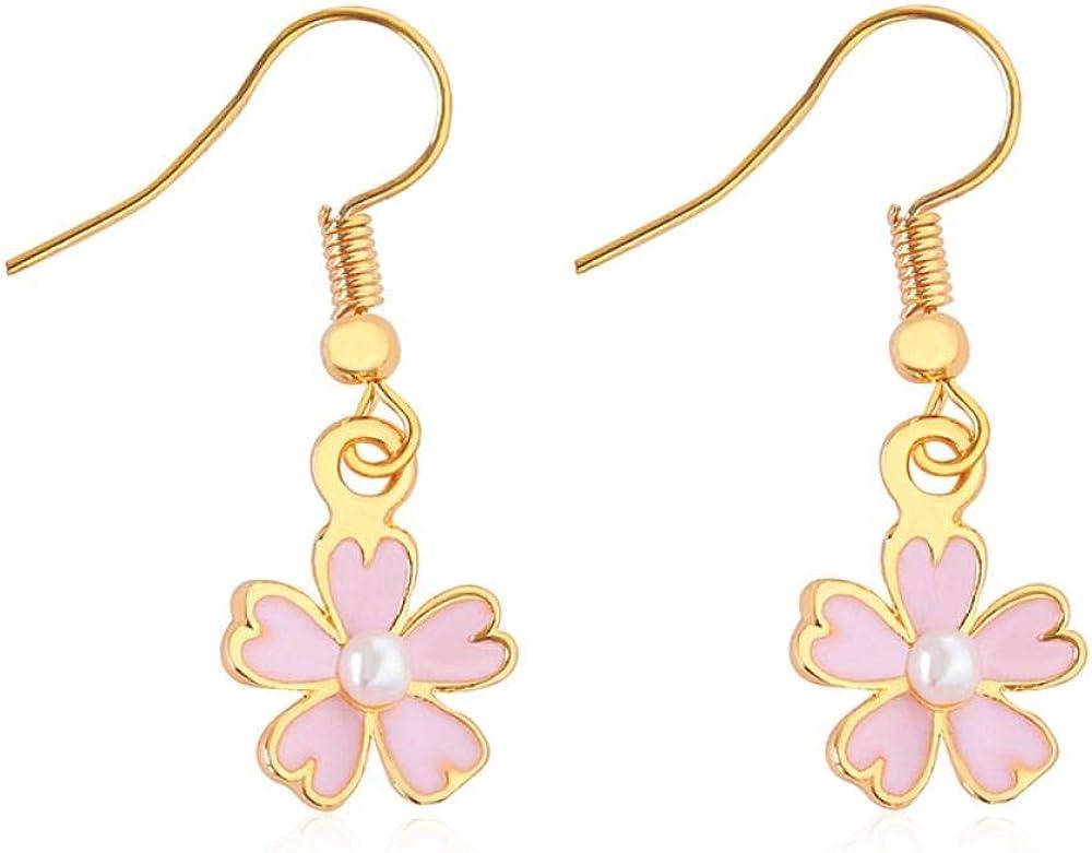 Flyrens Aceite Fresca Pequeña Cerezo Rosa Perla Con Cinco Hojas De Flor Pendientes Earrings Ear Clip,Pendientes