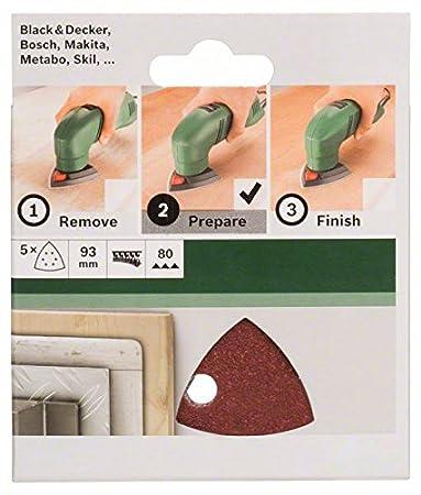 Bosch 2609256A50 Feuilles abrasives pour Ponceuses Delta Diam/ètre 93 mm Nombre de trous 6 Grain 80 Lot de 5 feuilles