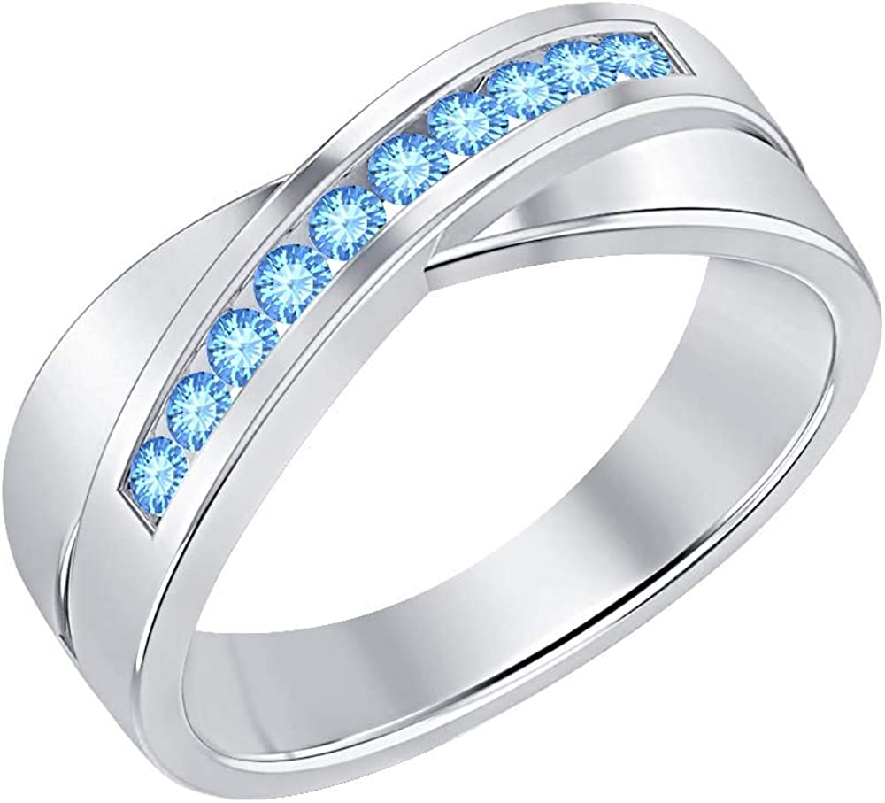 SVC-JEWELS 14K White Gold Over 925 Sterling Silver Round Cut Blue Topaz Criss Cross X Wedding Band Ring Men