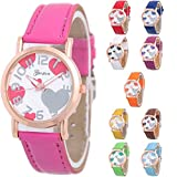 Yunanwa 10 Assorted Platinum Watch Women Bag Leather Wristwatch Golden rim Italian Love Girls