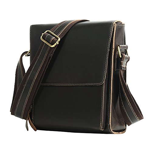 piel tipo casual de caballeros cuero bolso de de para pequeña marrón bandolera messenger hombre color Marrón Oscuro hombro de bag Leathario de mensajero de auténtico bolso 1wTxI