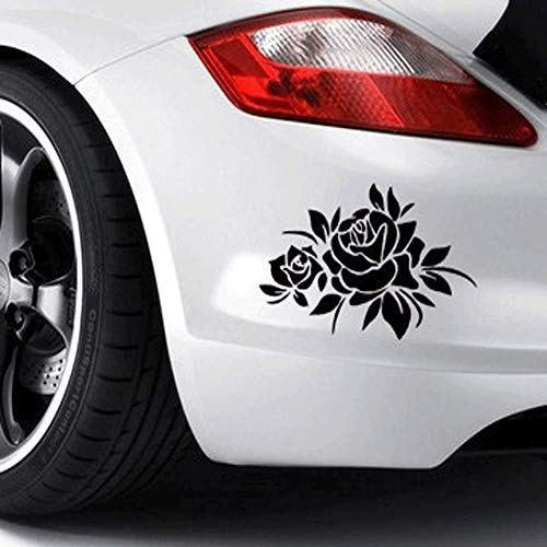 KISEER 2 Pcs Rose Flower Car Decal Stickers for Laptop Window Wall Car Truck Motorcycle, Black and White