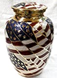 Cremation Urn - Funeral Urn for Human Ashes - Large Adult Size Burial Urn - 100% Brass - Gold American Flag Patriotic Hero