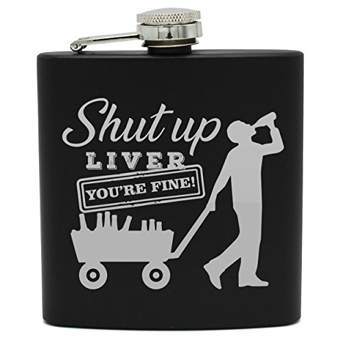 Fun Novelty Liquor Flasks for Men, Women, Friends - Hidden Hip Alcohol Flask with Funny Sayings for Him, Her (Black Flask Only, Liver Style)