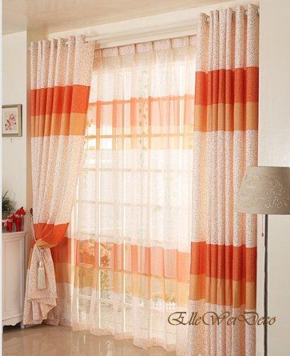 95' Curtain Drapery - Elleweideco Warm Orange Light Sheer Window Curtain/drape/panel (95'' 84'' 63'')(orange Sheer, 52wx84l)