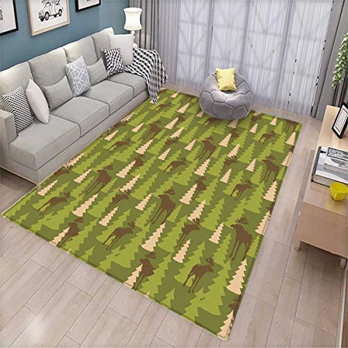 Deer Anti-Static Area Rugs Animals in The Forrest Mooses and Pine Trees Pattern Canada Foliage Mammal Design Children Kids Nursery Rugs Floor Carpet Green Tan Brown (Rugs Floor Canada)