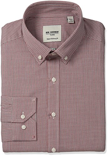 Ben Sherman Men's Skinny Fit Mini Check Button Down Collar Dress Shirt, Rust/Navy, 14.5