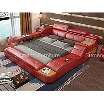 all in one leather double bed frame with speakers storage safe perfect relaxation su. Black Bedroom Furniture Sets. Home Design Ideas