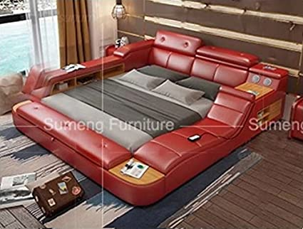 Amazon Com All In One Leather Double Bed Frame With Speakers