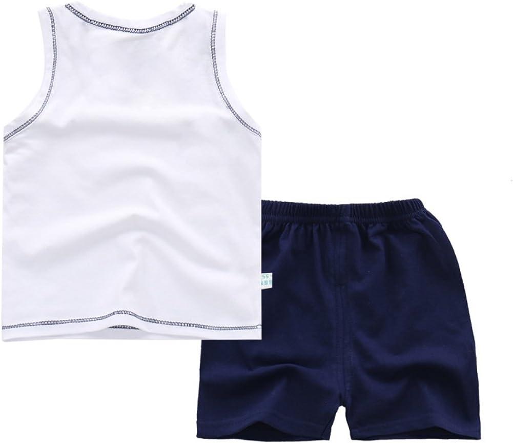 BOBORA Ensemble B/éb/é Gar/çons Tenue de Sport Chemise sans Manches pour Enfants avec Un Pantalon Court