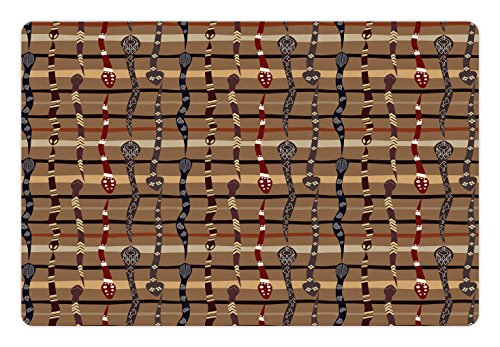 Native Snakes (Tribal Pet Mats for Food and Water by Ambesonne, Native American Wildlife Primitive Funky Snakes Traditional Oriental Arrangement, Rectangle Non-Slip Rubber Mat for Dogs and Cats, Multicolor)