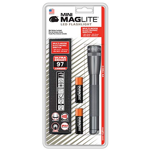 2aa Krypton Bulb - Maglite Mini LED 2-Cell AA Flashlight with Holster, Gray