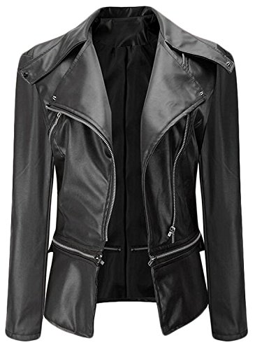 Losver Women Slim Lapel Long-Sleeved Zipper Leather Motorcycle BlackX-Large (Yakima Wa Stores)