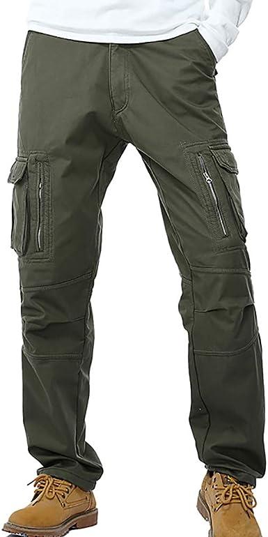 Herren Cargo Hose Loose Regular Fit Cargohose Work Trousers Arbeitshose Taschen