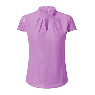283d532c8abbb Eaktool Shirts for Women,Fashion Womens Casual Chiffon Short Sleeve Splice  Lace Crop Top Blouse at Amazon Women s Clothing store