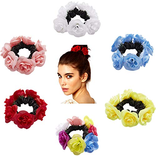 6 Pack Colorful Handmade Rose Flower Wreath Garland Bow Elastic Stretchy Hair Ties Bobbie Ponytail Holder Band Scrunchies Ring Loop for Women Wedding Bridal Party Hairstyles Decoration