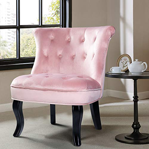 Pink Upholstered Chair/Jane Tufted Velvet Armless Accent Chair with Black Birch Wood Legs for Small Space- Blush Pink