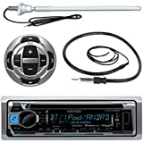 "Kenwood KMR-D368BT MP3/USB/AUX Marine Boat Yacht Stereo Receiver CD Player Bundle Combo W/ RC35MR Wired Remote Control,  Enrock Water Resistant 22"" Radio Antenna, Outdoor Rubber Mast 45"" Antenna"