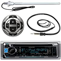 Kenwood KMR-D368BT MP3/USB/AUX Marine Boat Yacht Stereo Receiver CD Player Bundle Combo W/ RC35MR Wired Remote Control,  Enrock Water Resistant 22 Radio Antenna, Outdoor Rubber Mast 45 Antenna