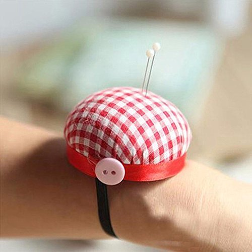 KANG--Portable Cute Red Plaid Check Wrist Pin Cushion Sponge Needle Bag Sewing - Size Check To Hat How