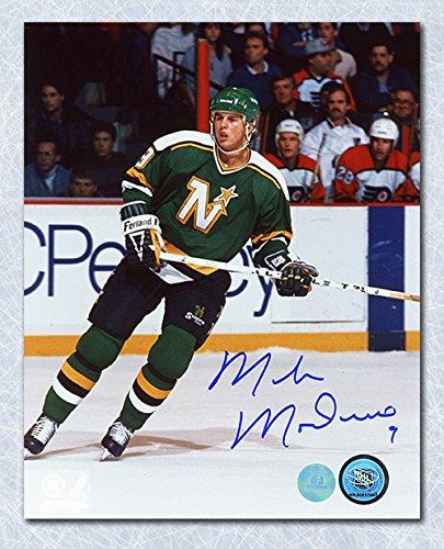 (Mike Modano Minnesota North Stars Autographed Game Action 8x10 Photo)