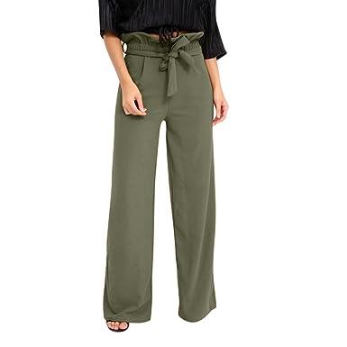 906c5649cff2 LILYYONG Summer Trousers Women Pants High Waist Speaker Wide Leg Straps  Lotus Leaf  Amazon.co.uk  Clothing