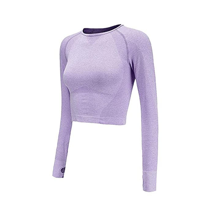 de695abc4c20b6 Image Unavailable. Image not available for. Color: Seamless Yoga Shirts for Women  Vital Seamless Long Sleeve Crop Top Thumb Hole Fitted Gym Top