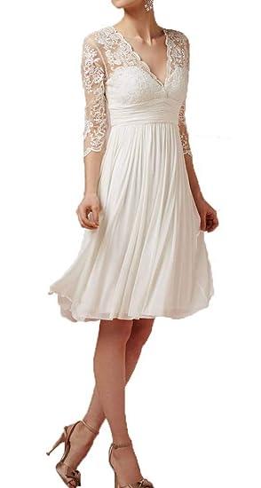 Short Summer Wedding Dresses | Blevla Sleeves V Neck Chiffon Short Wedding Dress Summer Bridal Gown