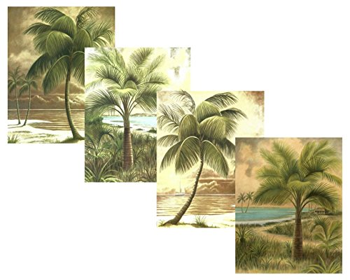 Set Of 4 Palms Scenic Beach Ocean Jenkins Palm Trees Art Prints Posters 11X14 Inches Living Room Home Office Decor