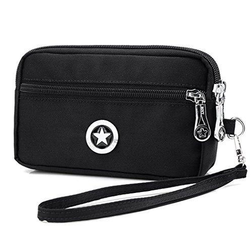 Lightweight Dual Layers Purse Waterproof Nylon Wristlet Bag Clutch Handbag Cell Phone Pouch Cash Key Bag (Black)