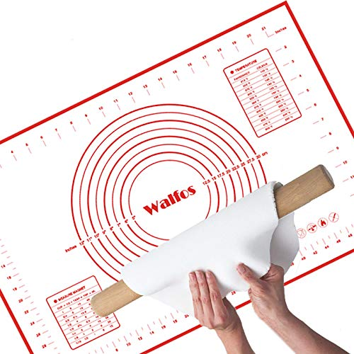 WALFOS Non-Slip Silicone Pastry Mat Extra Large with Measurements 24''by 16'' for Silicone Baking Mat, Counter Mat, Dough Rolling Mat,Oven Liner,Fondant/Pie Crust Mat - BPA Free