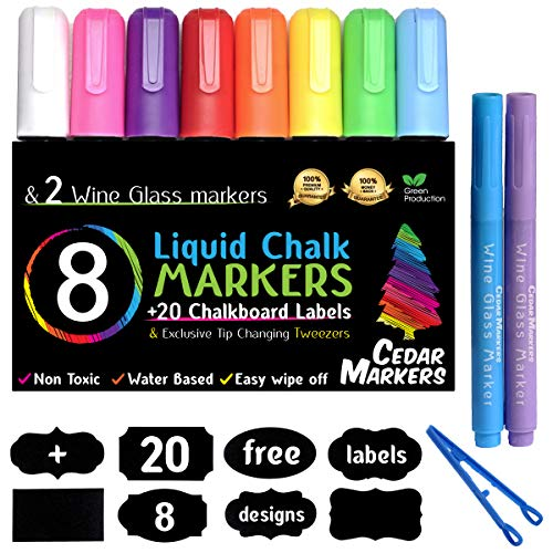 Cedar Markers Liquid Chalk Markers - 8 Pack With 2 Free Wine Glass Markers and 20 Chalkboard Labels. Amazing Neon Color Pens. Reversible Bullet And Chisel Tip And A Brand New Revolutionary Cap.